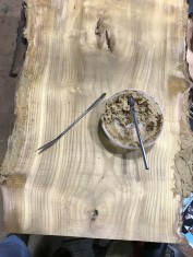 A filling paste made of sanding dust and a healthy amount of glue to fill those gaps.