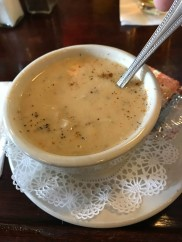 "Crab soup. I gave myself away by ordering ""Clam soup"" and ""Crab chowder"""