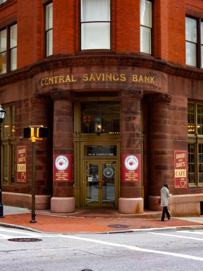 This is the historic home of the Central Savings Bank. The building seems to be condos and the lobby is now Dave and Dad's coffee shop.