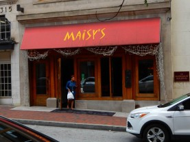 When the bartender at the B&O Restaurant informed me that they were not serving food, he recommended two alternatives. One was Maisy's. I chose the other, but I liked the doors.