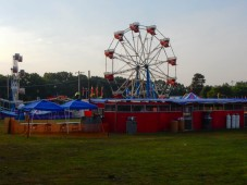 Early morning at the carnival site.