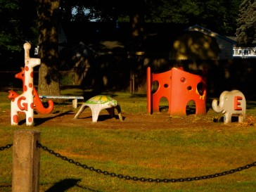 The old playground, when kids moved and toys were stationary.