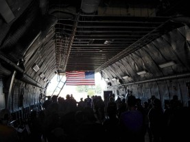 Waiting in line to get up onto the flight deck, inside the cavernous C5m Super Galaxy.