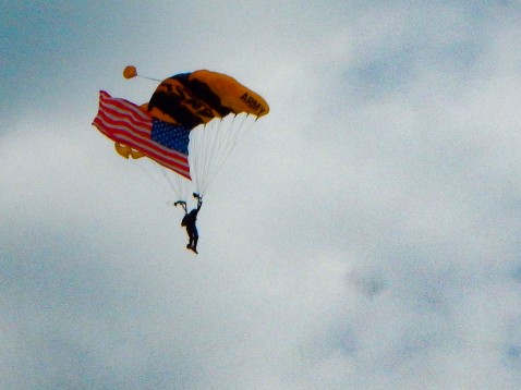 Lead man of the Army's Golden Knights - precision parachute team.