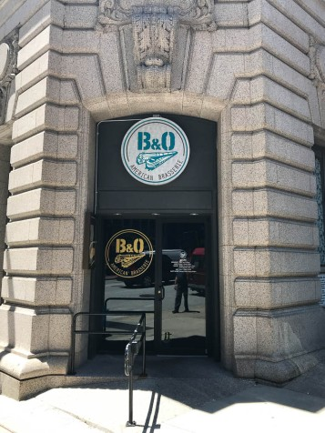 The B&O Brassiere. I had a beer, but they weren't serving food due to some mechanical problems in the kitchen. Also a corner door.