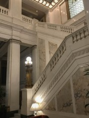 Looking up to the lobby from the main entrance.
