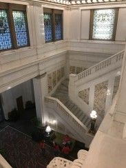 The stairs have that comfortable wear as a result of over 100 years of people walking up and down.