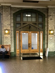 Doors to one of the platforms in Baltimore Penn Station.