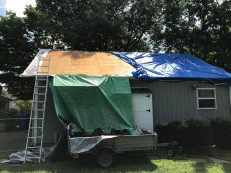 The old shingles are in the trailer. We are ready for another tarp.