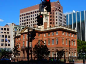 CT Old State House. Sitting on about a 1-acre plot, surrounded by high rise buildings.