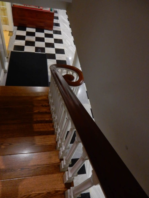 One of the side staircases from the landing of the center stairs.