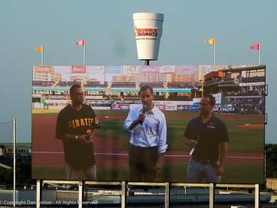 That's the Mayor of Hartford with the mic. On his right is a State Representative and a member of the Hartford softball league on his left.