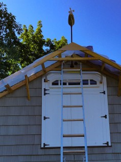 We can't build a roof over that. I have to move the weather sensor to the front of the new soffit.