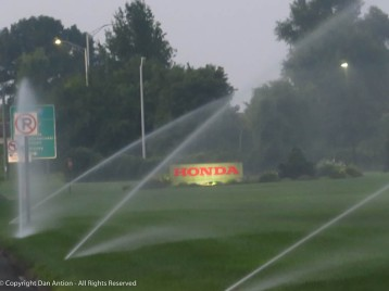 After two weeks without heavy rain (but still with 90-degree temps) they're back to watering the lawns.