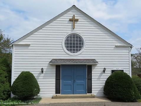 Modern church but I do like blue doors.