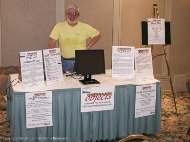David, on duty at his booth at the conference.