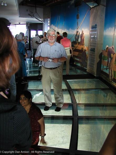 David on the glass floor.