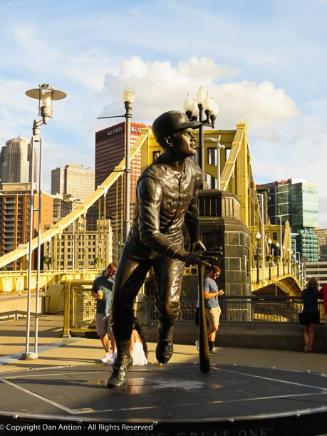 Roberto Clemente, in front of the bridge named in his honor.