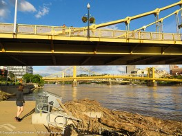 """Faith is scoping out the debris and the """"Sisters"""" 6th, 7th and 9th street bridges - a.k.a. Roberto Clemente, Andy Warhol and Rachel Carson."""