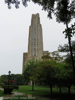 The Cathedral of Learning as seen from the entrance to Heinz Chapel.