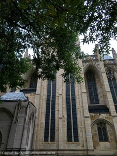 Outside on the north side. The transept windows are directly in front. On the left is the new addition that was built to house an elevator.