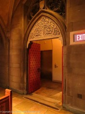 This is entrance is on the north side, where and addition was made to accommodate an elevator to provide access for handicapped individuals.