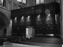 This wooden structure separates the Nave (center body of church) from the Narthex (gathering area in entryway).