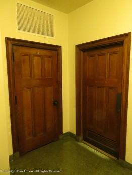 Restroom doors in the basement.