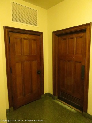 Restroom doors in the basement.