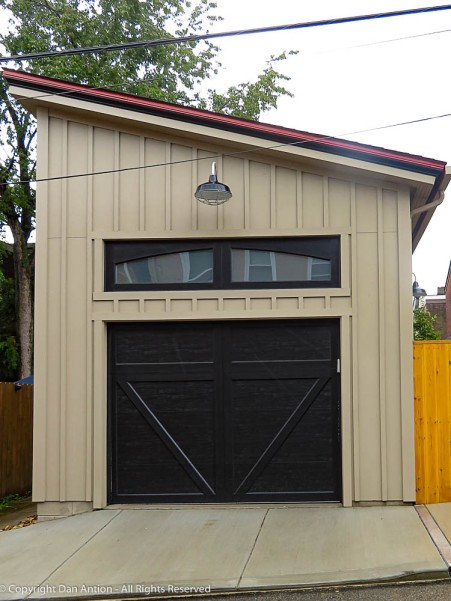 This is a modern garage, but the style fits in the neighborhood.