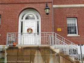 Side door to the library. I like how the sidelights wrap around the transom window.