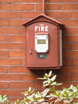 Firs call box on the front wall of the Bennett Library.