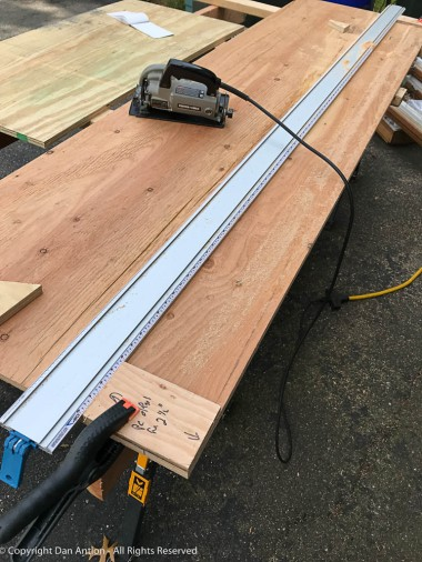 """I had to cut many 2 1/2"""" strips. So, I made some specific guide blocks to set the edge-clamp."""