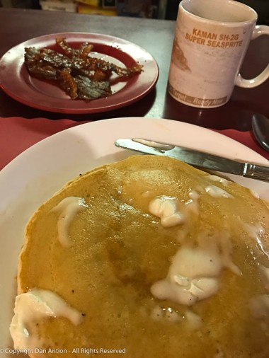 Maddie's makes wonderful pancakes. Of course, they're better with bacon.