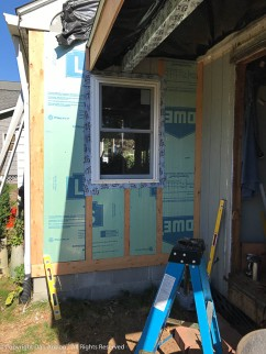 New window installed. The lower section has been built out to be flat with the upper section.
