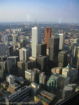 From the observation deck of the CN Tower.