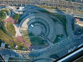 A look at a railway turntable from the CN Tower.