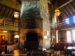 Fireplace doors inside the lodge - Timberline Lodge on Mt. Hood in Oregon