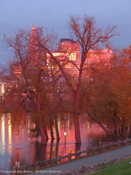 Great River Park is flooded, but I like the reflections of the red sky.