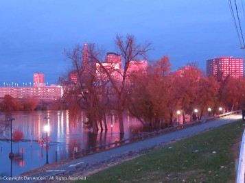 The entire city had a red glow on this morning