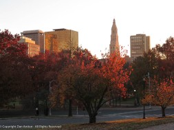 I was in Hartford early on Friday for a haircut. The sun was just breaking over the horizon.