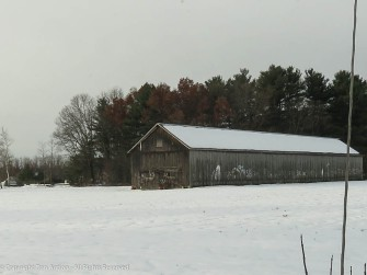 Tobacco barn in the first snow.