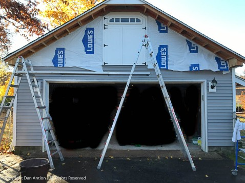 Set up for a second-story job today. I need to wrap that soffit before moving to the wall.
