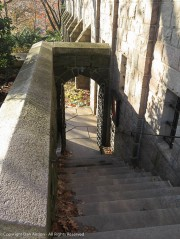 Stairs down to the road which leads back to the main entrance.