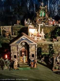 Some of the buildings and figures are commercial. Some are handmade.
