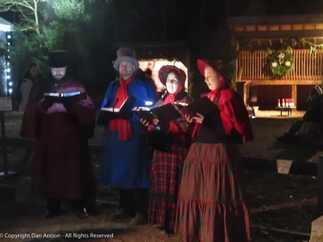 Wandering group singing carols.