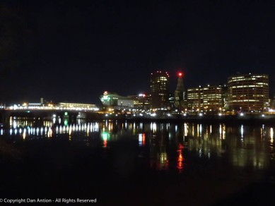 Hartford from the north end of Great River Park (on the Bulkeley Bridge).