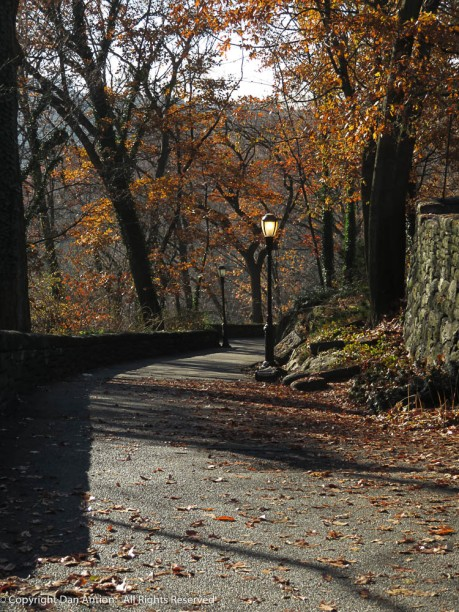 This walking path through Ft. Tryon turns and runs parallel to the Hudson River.