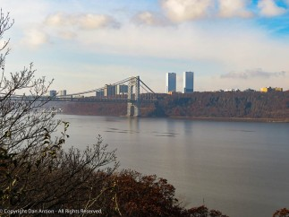 The George Washington bridge over the Hudson River.