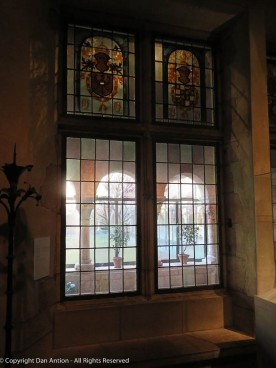 This window looks out onto the cloister and garden which give it an interesting light.